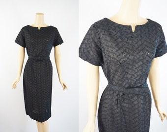 Vintage 1950s Dress Black Eyelet Form Fitting B40 W31