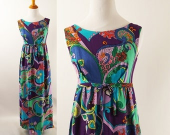 Vintage 1960s Hawaiian Barkcloth Dress Empire Waist Psychedelic Print Maxi B34 Sz S - XS