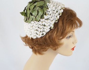 Vintage 1960s Hat Cone Style with White Lily of the Valley and Green Petals
