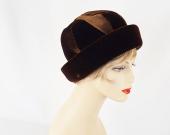 Vintage Hat 1960s Brown Velvet Cuffed Cloche by Miss Rose Sz 22