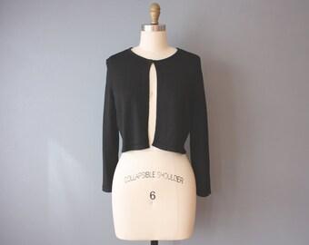 vintage 90s cardigan / black minimalist cardigan / stretchy grunge top