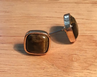 Tigers Eye, Gold Square Post Earrings
