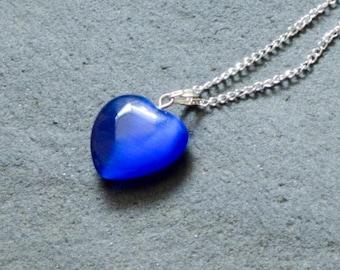 Cobalt Heart Pendant, Blue Heart Pendant, Glass Pendant, Glass Heart Pendant, Glass Heart Necklace, Blue Necklace,  Anniversary Gifts,