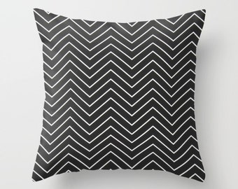 Black Pillow cover Chevron Pillow Cover Decorative Pillow Cover Couch Pillows Size Choice