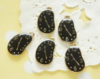 5 pcs Curving Watch Gold Charm (13mm19mm) Black AZ202