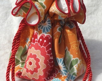 Orange Posies Jewelry Pouch Bag for travel fun
