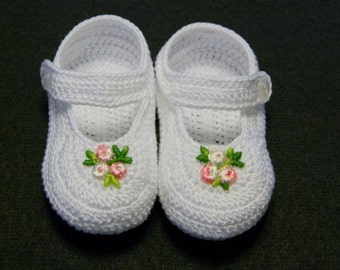 Crochet White Mary Janes/Booties with Pink Flower, Christening, Newborn Baby Girl 0-3 months