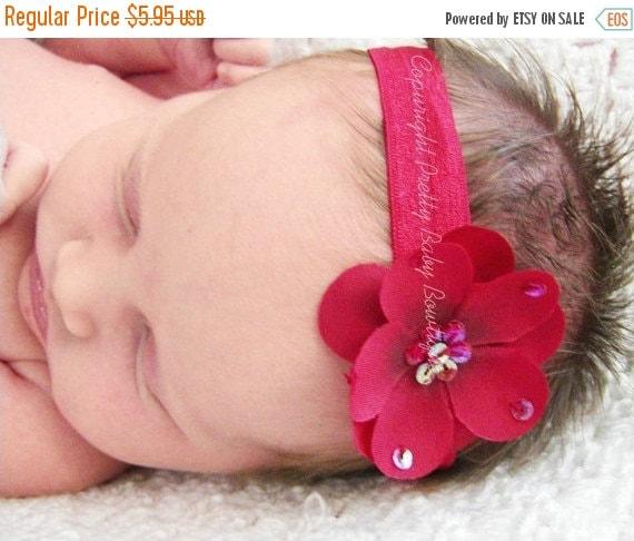 SALE Baby Headband - Red Headband- Baby Girl Headband - Infant Headband - Flower Headband - Photo Prop (RS)