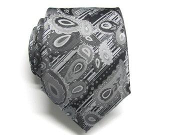 Mens Tie - Black Gray Silver Paisley Necktie