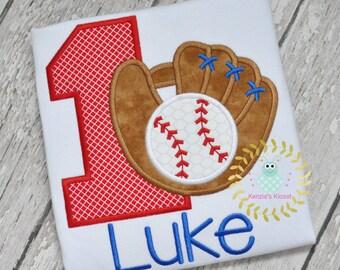 Baseball applique shirts - Baseball birthdays - Baseball birthday shirts - Baseball embroidery t-shirts - 12 mo 18 mo 2t 3t 4t 5 6 8