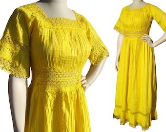 Vintage Mexican Wedding Dress Yellow Cotton & Peek a Boo Lace M