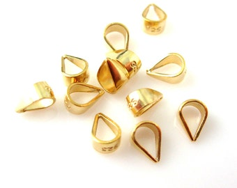 Gold Bail -Vermeil Findings,Vermil Bails,22k Gold plated over 925 Sterling Silver Simple Bail-Closed Bail (5.5mm, 10 pcs ) - SKU: 219010-VM