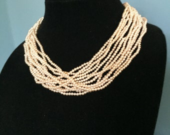 """Vintage Classic Multi 12 Strand Faux Pearl 18"""" Necklace with Silver Tone Clasp Bride Wedding Mother of the Bride"""