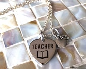Teacher gifts, teacher necklace, gift for teacher, teacher christmas gift, preschool teacher, back to school, teacher and apple necklace