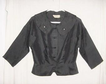 Vintage 50s Black Natural Silk Ladies Suit Jacket Blouse M Peplum