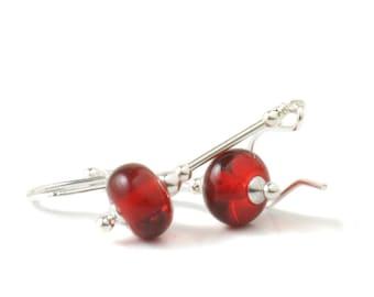 Red Earrings | Red Glass Earrings | Red Lampwork Earrings | Lampwork Glass Earrings with Sterling Silver | UK