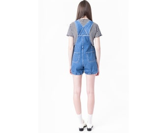 OVERALL shorts 90s JEANS denim jean vintage overalls blue wash Small / Medium women Better stay Together