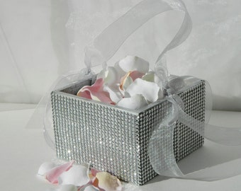 Flower Girl Basket + Silver Rhinestone wrapped wood Flower Girl Basket with ribbon Handle (6 x 6 x 3.5)