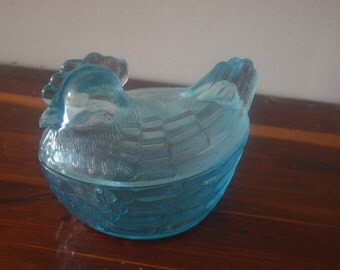 Vintage Blue Glass Chicken Candy Dish Covered Bowl