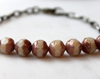 Earthy Beaded Bracelet / Czech Glass Beads / Sand Beige with Copper Picasso Finish / Earthy Boho Chic Bracelet / Antiqued Brass