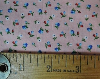 Vintage Fabric Cotton Calico Pink with Tiny Blue Flowers, 1-2/3 yards, Doll fabric