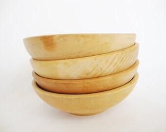 vintage maple wood cereal salad bowls set of 4