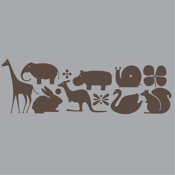 Large Dwell Studio Inspired Animals Set Vinyl Wall Decals