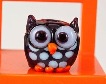 Purple Blue Orange Owl Lampwork Bead
