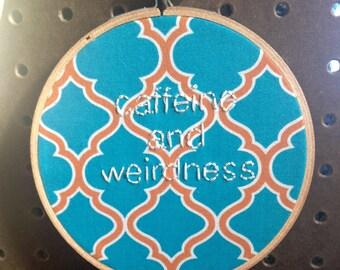 caffeine and weirdness hoop in blue