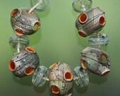 Organic Volcano - Handmade Lampwork Hollow Beads Set SRA