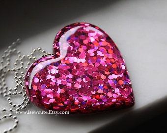 Giant Rose Pink Resin Heart Necklace, Metallic Pink Glitter Heart Pendant, Modern Fashion Unusual Jewelry, Resin Pendant, Glitter Jewellery
