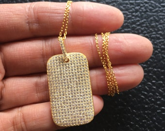 SALE WAS 70.00 Pave Dog Tag Necklace, Gold Dog Tag Necklace, Sterling Silver Dog Tag Necklace, Dog Tag Jewelry