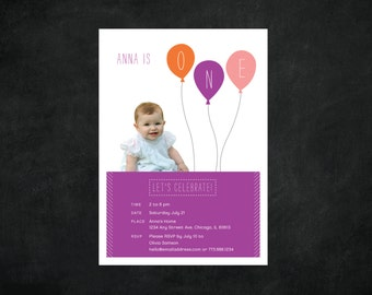 Digital / Printable  / First Birthday Party Invitation / Balloons / For Boy or Girl