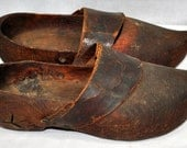 Antique Dutch or French Wooden Shoes - Leather Covers