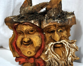 Vintage Hand Carved Tirol Man and Woman Faces - Wooden Souvenir Wall Hanging - Outdoor Decor