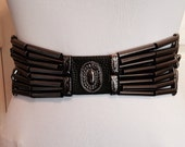 Black Vintage 1980s Glam Leather, Equus Western Belt with Metal Embellishments, Black Leather, Small Medium, 26-30 inches, Designer