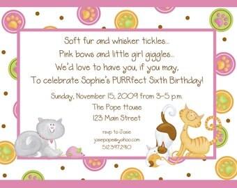 Little Kitty Invitation, Printable Invitation Design, Custom Wording, JPEG File