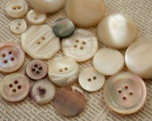 SALE VINTAGE BUTTONS 19 Real Shell Lovely Lot Beautiful Opalescent Color Creamy Whites