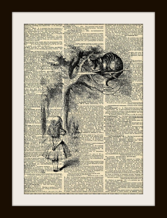 Art Print CHESHIRE CAT Alice in Wonderland 8x10  Dictionary Gold Gilded Vintage Page