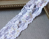 """15% OFF 2""""  White Stretch Lace Trim, Beaded Floral Elastic Lace for ligerie, headbands, bridal garters - 10 yards"""