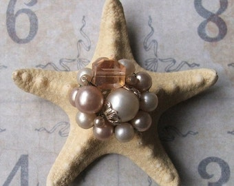 CLEARANCE Vintage Pearl Earring Bejeweled Starfish, Inspirational Bridal Gift, Beach Cottage Coastal Style, Beach Wedding Table Decor
