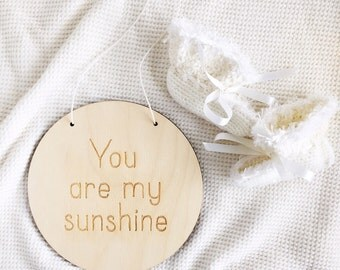 You Are My Sunshine Wall Hanging, Wood Sign, Kids Hanging Signs, Nursery Hanging Sign, Baby Room Birch Wall Sign, Nursery Plaque
