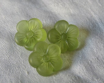 Set of 3 VINTAGE Small Realistic Green Plastic BUTTONS