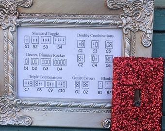 Custom Switchplate Red Glitter