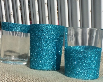 12 Aqua Glitter Votive Candle Holders Wedding Party Favors