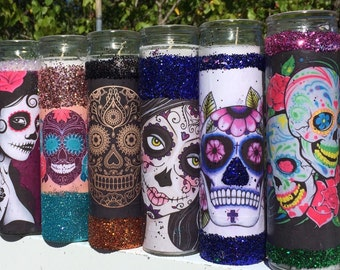 Sugar Skull Tall Candle Holders - Wedding Party Favors 7 Day Prayer Candles Day of the Dead Mexican Dia De Los Muertos altar Calavera
