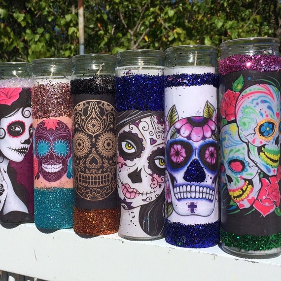 Sugar Skull Tall Candle Holders - Wedding Party Favors 7 Day Prayer Candles