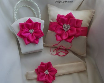 Wedding RingBearer Pillow Flower Girl Basket and Flower Girl Headband handemade Flowers Rhinestone Heart Charms Shocking Pink