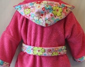 Girls-Bath-Robes-Girl-Robe-Pink-Flowers-Bathrobes-Childrens-Beach-Hooded-Swim-Suit-Terry-Cover Up-Baby-Toddler-Kids-Gift