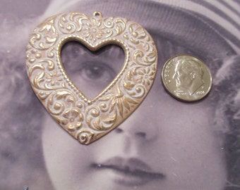 Gold Plated Frosted White Patina Heart Pendant 435WHT x1